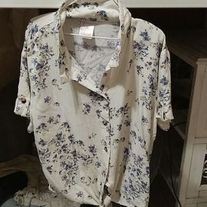 Button up short sleeve shirt with blue flowers